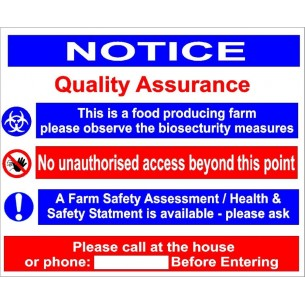 QUALITY ASSURANCE FARM SIGN 400 x 500